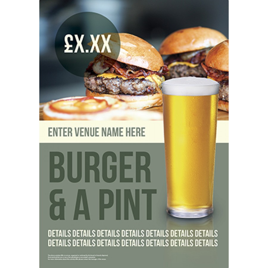 Burger & a Pint Poster (A2)