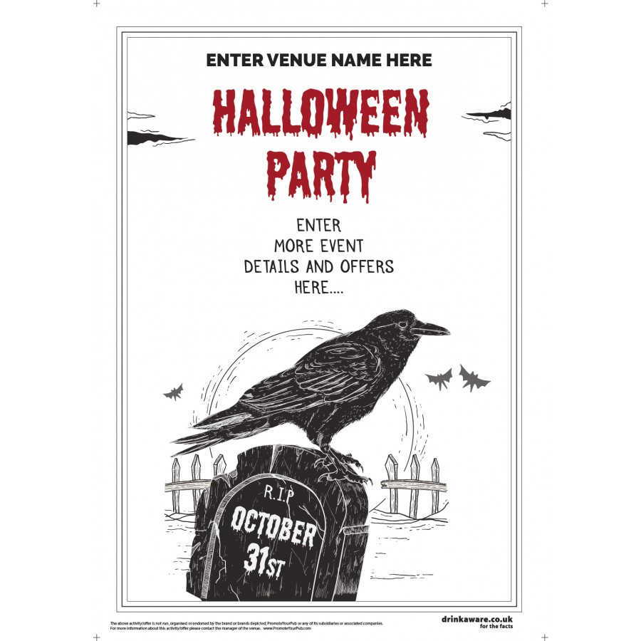Halloween Party Poster (Crow) (A2)