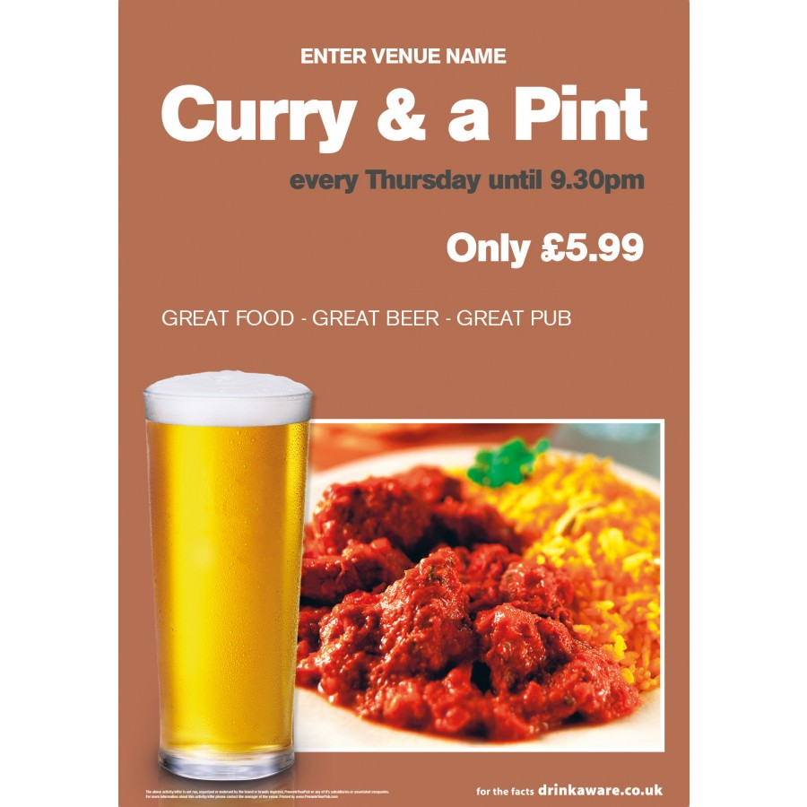 Curry & a Pint Poster (A3)
