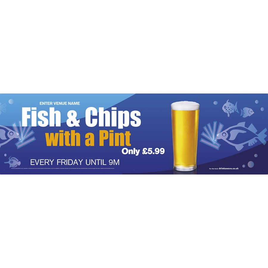 Fish,Chips & a Pint Banner (Lrg)