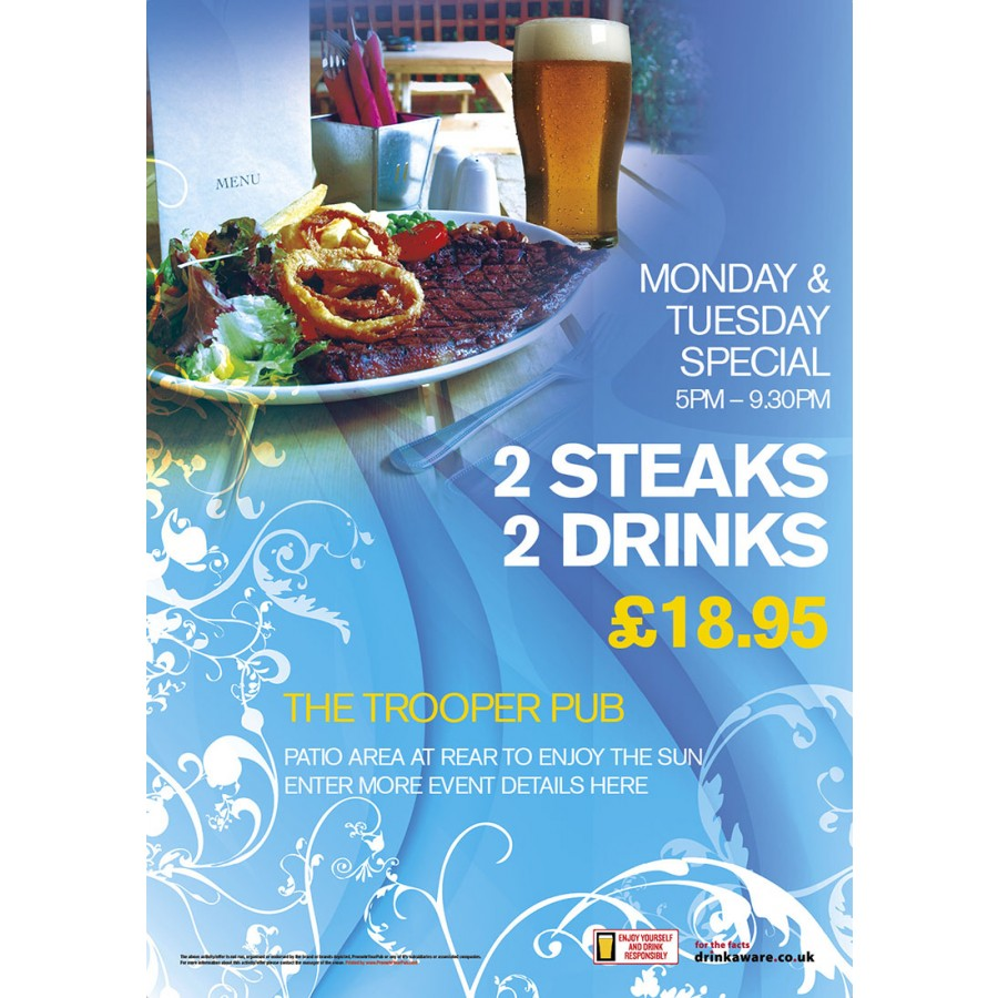 2 Steaks, 2 drinks Poster (A2)