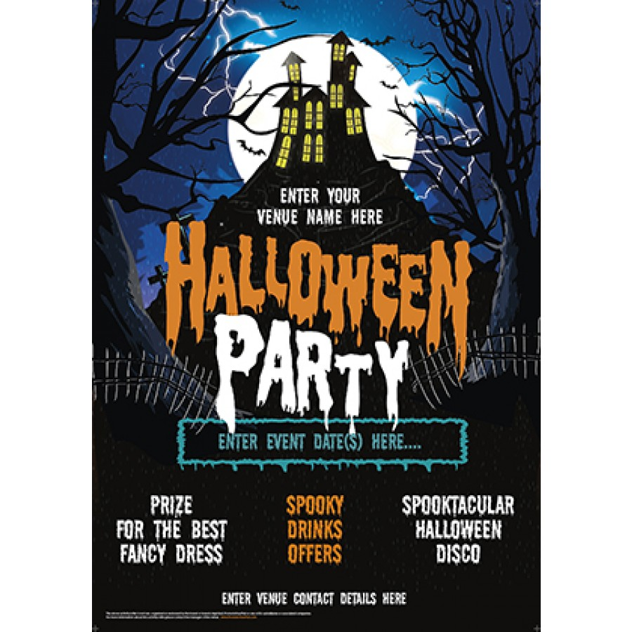 Halloween Party Poster (House on the hill) (A3)
