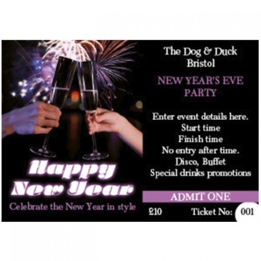 New Year's Eve Ticket (+ loyalty stamp) (firework toast design)