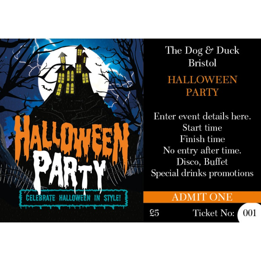 Halloween Party Ticket (+ loyalty stamp) (house on hill design)