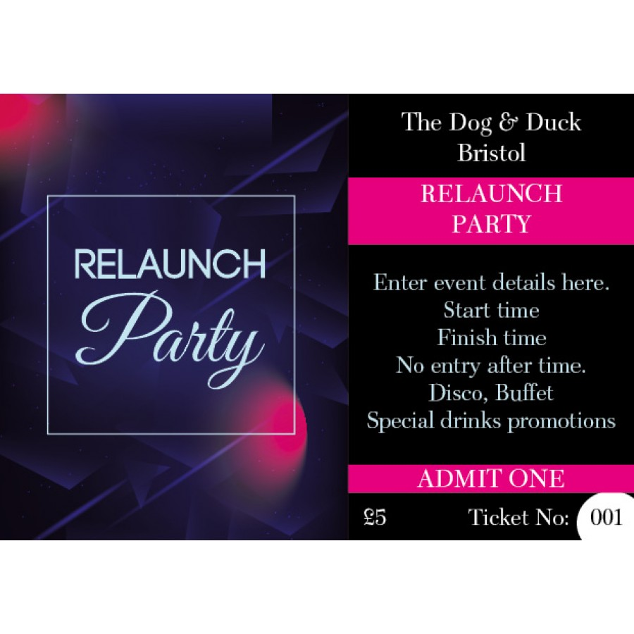 Relaunch Party Ticket (+ loyalty stamp)
