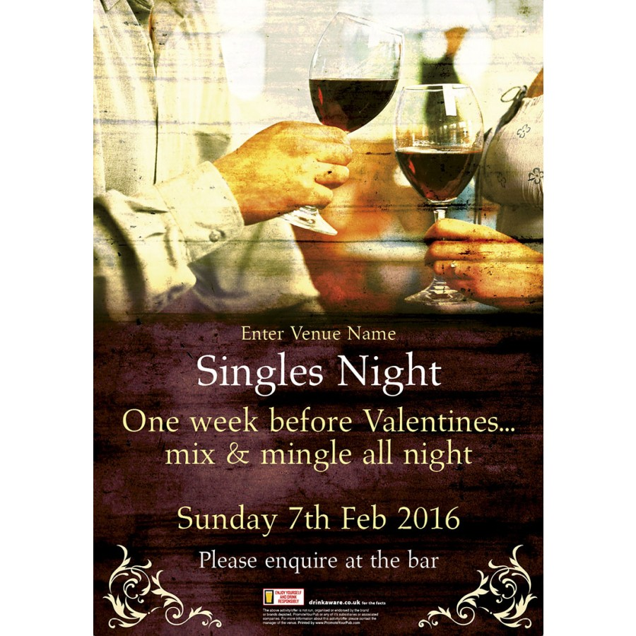 Singles Night Poster (A2)