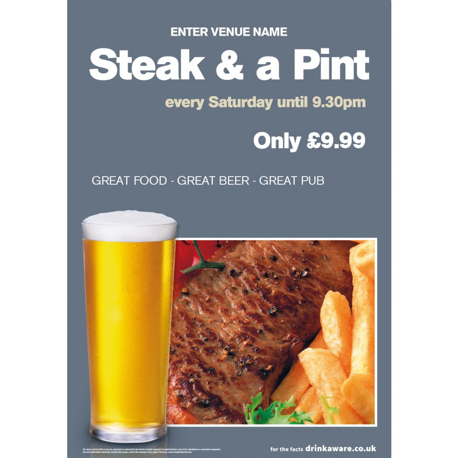 Steak & a Pint Poster (A4)