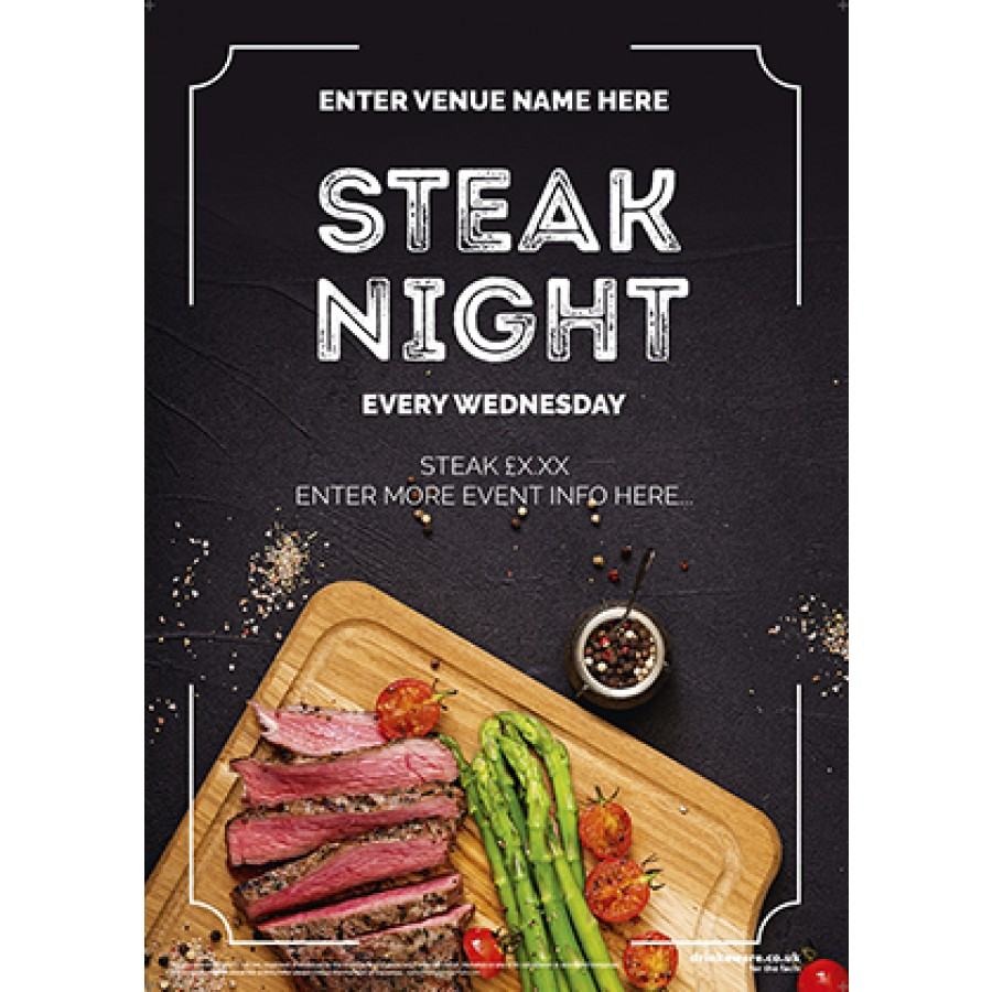 Steak Night Poster (photo) (A3)