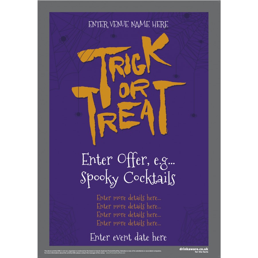 Halloween Offers Poster (Trick or Treat) (A3)