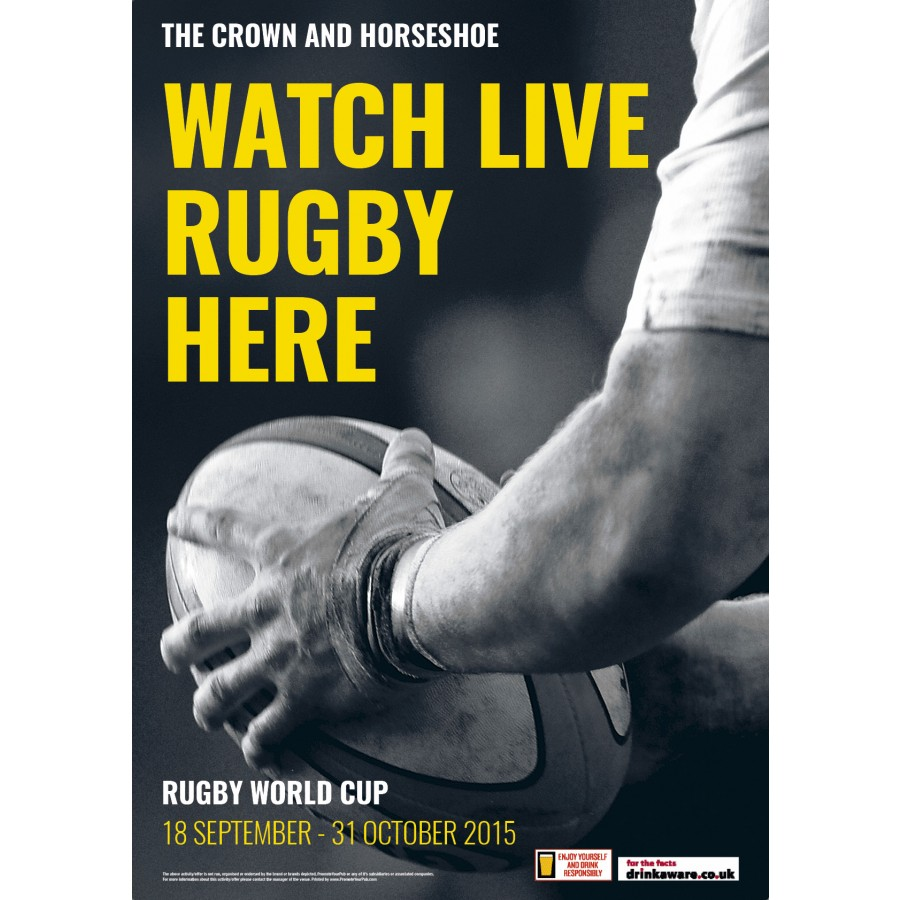 Watch Rugby Here Poster (A2)